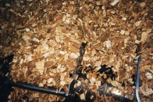 Wood chips in a conveyor